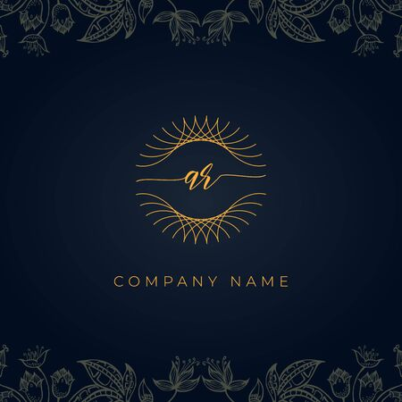 Elegant luxury letter AR logo. This icon incorporate with abstract rounded thin geometric shape in floral background.It will be suitable for which company or brand name start those initial.