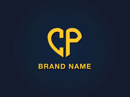 Minimalist love initial letter CP logo. This icon incorporate with two love shape typeface in the creative way. It will be suitable for which company or brand name start those initial. Stock Illustratie