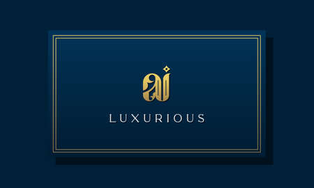 Vintage royal initial letter AI logo. This logo incorporate with luxurious typeface in the creative way.It will be suitable for Royalty, Boutique, Hotel, Heraldic, fashion and Jewelry. Illustration