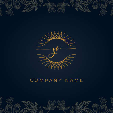 Elegant luxury letter YO logo. This icon incorporate with abstract rounded thin geometric shape in floral background.It will be suitable for Royalty, Boutique, Hotel, Heraldic, Jewelry.