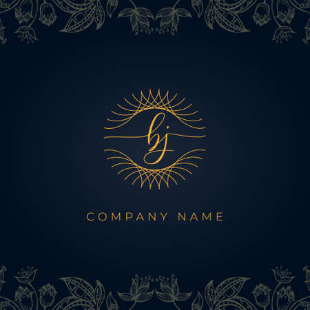 Elegant luxury letter BJ logo. This icon incorporate with abstract rounded thin geometric shape in floral background.It will be suitable for which company or brand name start those initial. Logó