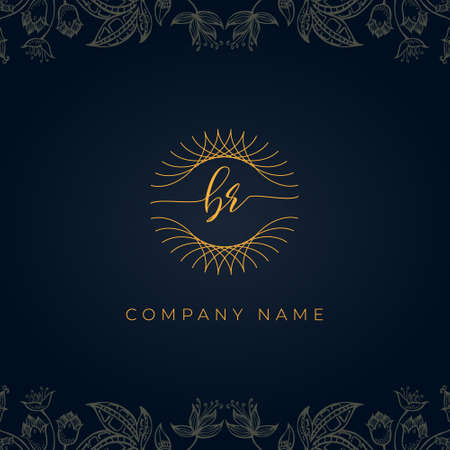 Elegant luxury letter BR logo. This icon incorporate with abstract rounded thin geometric shape in floral background.It will be suitable for which company or brand name start those initial.