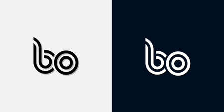 Modern Abstract Initial letter BO logo. This icon incorporate with two abstract typeface in the creative way.It will be suitable for which company or brand name start those initial. Ilustração