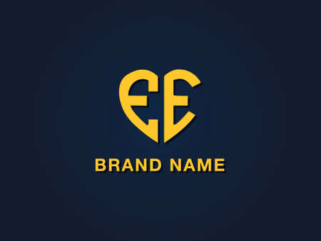 Minimal love initial letter EE logo. This icon incorporate with two love shape typeface in the creative way.It will be suitable for which company or brand name start those initial.