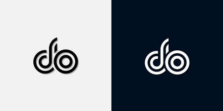 Modern Abstract Initial letter DO logo. This icon incorporate with two abstract typeface in the creative way.It will be suitable for which company or brand name start those initial.