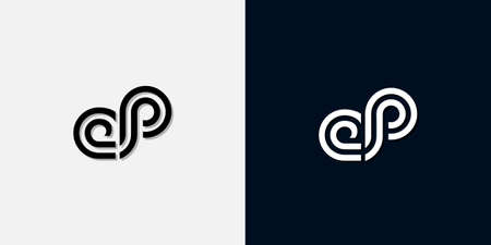 Modern Abstract Initial letter EP logo. This icon incorporate with two abstract typeface in the creative way.It will be suitable for which company or brand name start those initial.