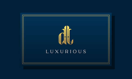 Vintage royal initial letter DL logo. This logo incorporate with luxurious typeface in the creative way.It will be suitable for Royalty, Boutique, Hotel, Heraldic, fashion and Jewelry. Stock Illustratie