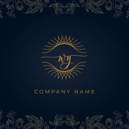 Elegant luxury letter WY logo. This icon incorporate with abstract rounded thin geometric shape in floral background. It will be suitable for which company or brand name start those initial.