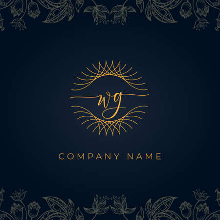 Elegant luxury letter WG logo. This icon incorporate with abstract rounded thin geometric shape in floral background. It will be suitable for which company or brand name start those initial.