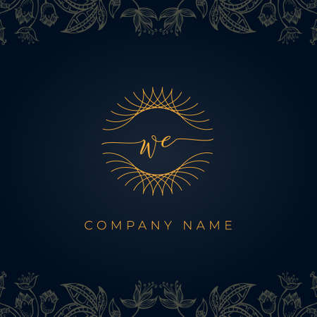 Elegant luxury letter WE logo. This icon incorporate with abstract rounded thin geometric shape in floral background. It will be suitable for which company or brand name start those initial.