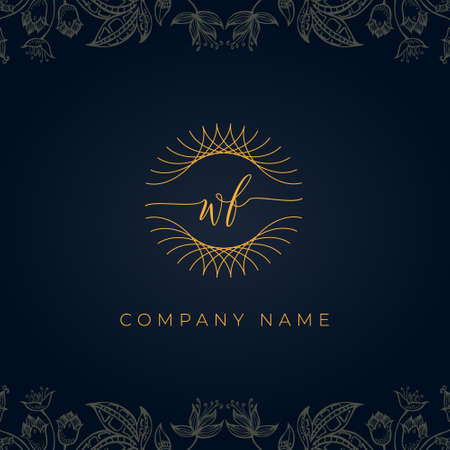 Elegant luxury letter WF logo. This icon incorporate with abstract rounded thin geometric shape in floral background. It will be suitable for which company or brand name start those initial.