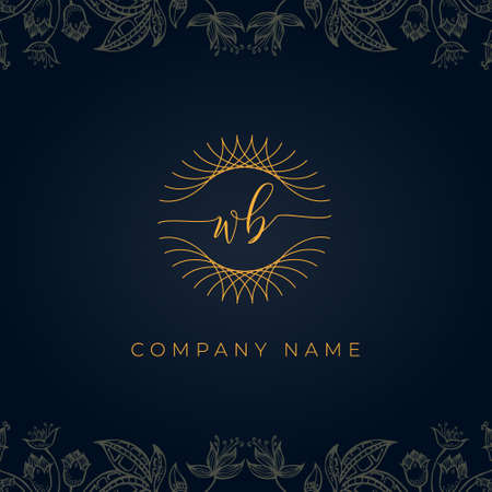 Elegant luxury letter WB logo. This icon incorporate with abstract rounded thin geometric shape in floral background. It will be suitable for which company or brand name start those initial.