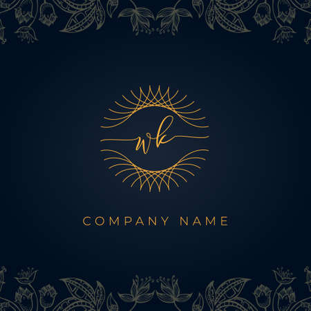 Elegant luxury letter WK logo. This icon incorporate with abstract rounded thin geometric shape in floral background. It will be suitable for which company or brand name start those initial. Stock Illustratie
