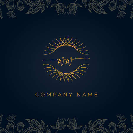 Elegant luxury letter WW logo. This icon incorporate with abstract rounded thin geometric shape in floral background. It will be suitable for which company or brand name start those initial.