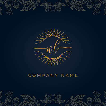 Elegant luxury letter WL logo. This icon incorporate with abstract rounded thin geometric shape in floral background. It will be suitable for which company or brand name start those initial.