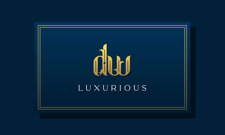 Vintage royal initial letter DW logo. This logo incorporate with luxurious typeface in the creative way.It will be suitable for Royalty, Boutique, Hotel, Heraldic, fashion and Jewelry. Ilustracja