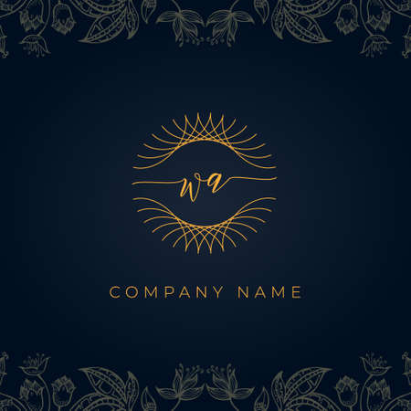 Elegant luxury letter WA logo. This icon incorporate with abstract rounded thin geometric shape in floral background. It will be suitable for which company or brand name start those initial.