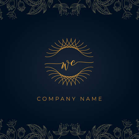 Elegant luxury letter WC logo. This icon incorporate with abstract rounded thin geometric shape in floral background. It will be suitable for which company or brand name start those initial.