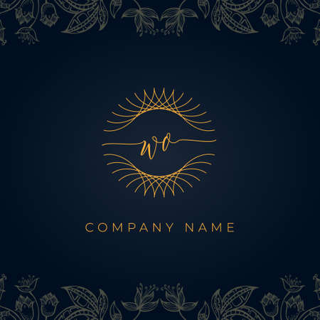Elegant luxury letter WO logo. This icon incorporate with abstract rounded thin geometric shape in floral background. It will be suitable for which company or brand name start those initial. Stock Illustratie