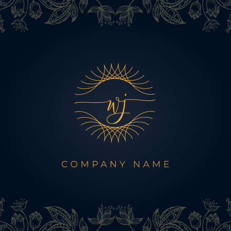 Elegant luxury letter WJ logo. This icon incorporate with abstract rounded thin geometric shape in floral background. It will be suitable for which company or brand name start those initial.