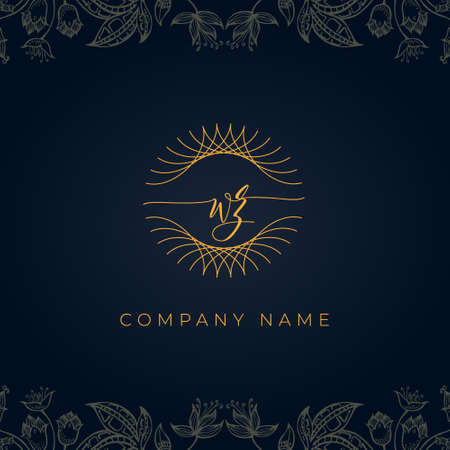 Elegant luxury letter WZ logo. This icon incorporate with abstract rounded thin geometric shape in floral background. It will be suitable for which company or brand name start those initial.
