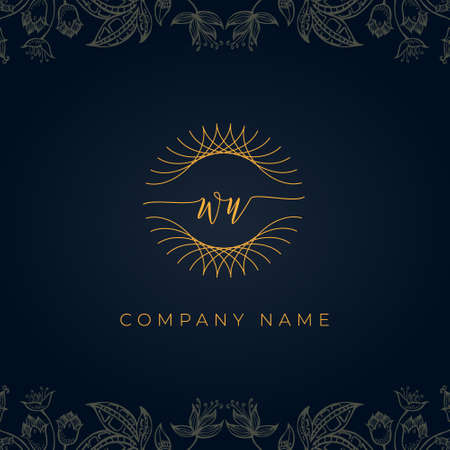 Elegant luxury letter WU logo. This icon incorporate with abstract rounded thin geometric shape in floral background. It will be suitable for which company or brand name start those initial.