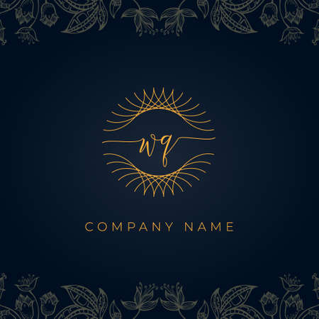 Elegant luxury letter WQ logo. This icon incorporate with abstract rounded thin geometric shape in floral background. It will be suitable for which company or brand name start those initial.