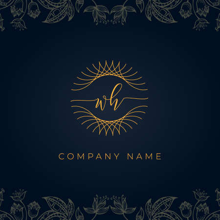 Elegant luxury letter WH logo. This icon incorporate with abstract rounded thin geometric shape in floral background. It will be suitable for which company or brand name start those initial. Stock Illustratie