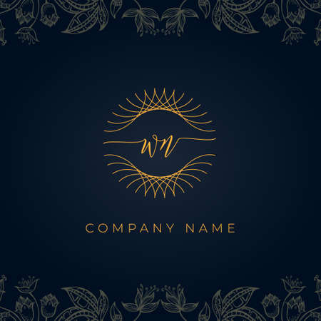 Elegant luxury letter WN logo. This icon incorporate with abstract rounded thin geometric shape in floral background. It will be suitable for which company or brand name start those initial. Stock Illustratie