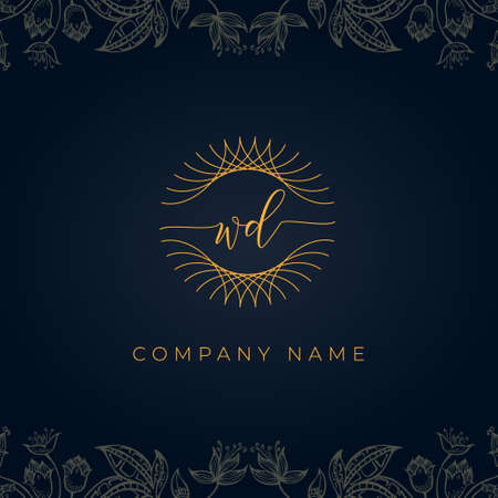 Elegant luxury letter WD logo. This icon incorporate with abstract rounded thin geometric shape in floral background. It will be suitable for which company or brand name start those initial.