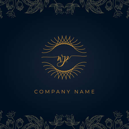 Elegant luxury letter WP logo. This icon incorporate with abstract rounded thin geometric shape in floral background. It will be suitable for which company or brand name start those initial.