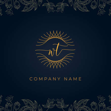 Elegant luxury letter WT logo. This icon incorporate with abstract rounded thin geometric shape in floral background. It will be suitable for which company or brand name start those initial.