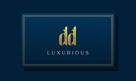 Vintage royal initial letter DD logo. This logo incorporate with luxurious typeface in the creative way.It will be suitable for Royalty, Boutique, Hotel, Heraldic, fashion and Jewelry. Stock Illustratie