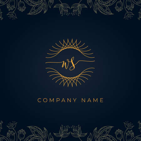 Elegant luxury letter WS logo. This icon incorporate with abstract rounded thin geometric shape in floral background. It will be suitable for which company or brand name start those initial.