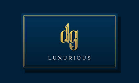 Vintage royal initial letter DG logo. This logo incorporate with luxurious typeface in the creative way.It will be suitable for Royalty, Boutique, Hotel, Heraldic, fashion and Jewelry. Stock Illustratie