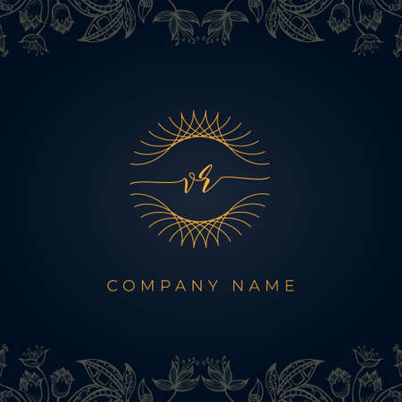 Elegant luxury letter VR logo. This icon incorporate with abstract rounded thin geometric shape in floral background. It will be suitable for which company or brand name start those initial.