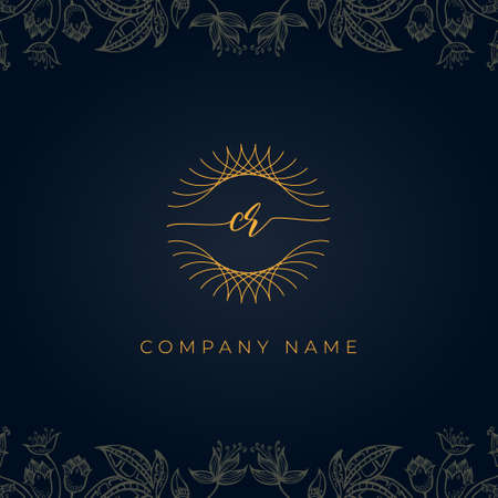 Elegant luxury letter CR . This icon incorporate with abstract rounded thin geometric shape in floral background.It will be suitable for which or brand name start those initial.