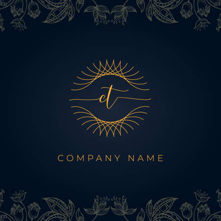 Elegant luxury letter CT . This icon incorporate with abstract rounded thin geometric shape in floral background.It will be suitable for which or brand name start those initial.