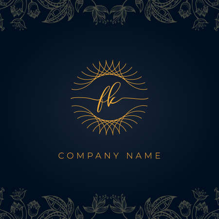 Elegant luxury letter FK logo. This icon incorporate with abstract rounded thin geometric shape in floral background. Logó