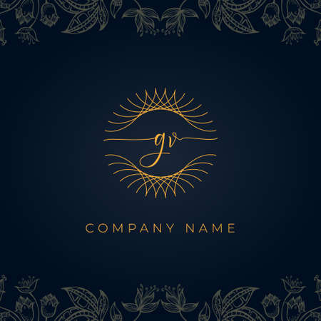 Elegant luxury letter GV logo. This icon incorporate with abstract rounded thin geometric shape in floral background. Logó