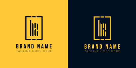 This logo icon incorporate with abstract rectangle shape and typeface in the creative way. Modern letter logo design in yellow and black background. Logó