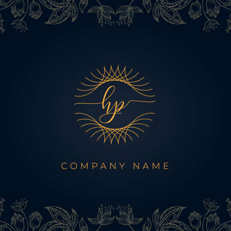 Elegant luxury letter HP logo. This icon incorporate with abstract rounded thin geometric shape in floral background. Logo
