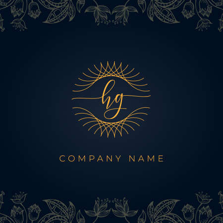 Elegant luxury letter HG logo. This icon incorporate with abstract rounded thin geometric shape in floral background.