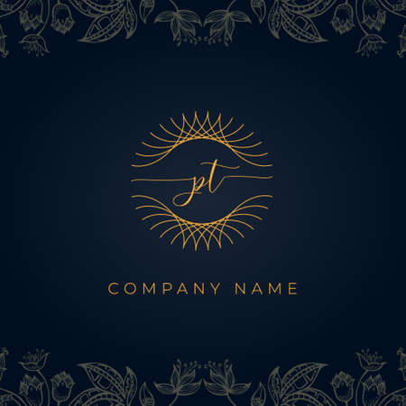 Elegant luxury letter PT logo. This icon incorporate with abstract rounded thin geometric shape in floral background.It will be suitable for which company or brand name start those initial.
