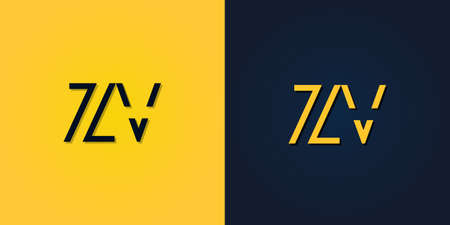 Minimalist Abstract Initial letter ZV logo. This logo incorporate with abstract letter in the creative way.It will be suitable for which company or brand name start those initial.