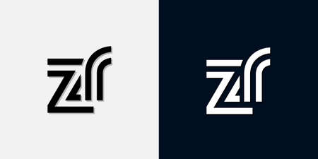 Modern Abstract Initial letter ZR logo. This icon incorporate with two abstract typeface in the creative way.It will be suitable for which company or brand name start those initial. Logo