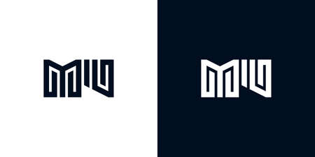 Minimal creative initial letters MU logo. This logo incorporate with two creative letters in the creative way. It will be suitable for which company or brand name starts those initial letters.