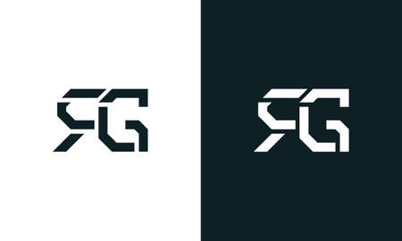 Creative minimal abstract letter RG logo. This logo incorporate with abstract typeface in the creative way.It will be suitable for which company or brand name start those initial. Logo