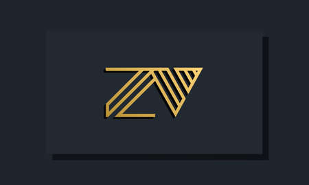 Elegant line art initial letter ZV logo. This logo incorporate with two creative letters in the creative way. It will be suitable for which company or brand name starts those initial letters.