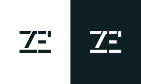 Creative minimal abstract letter ZE logo. This logo incorporate with abstract typeface in the creative way.It will be suitable for which company or brand name start those initial.